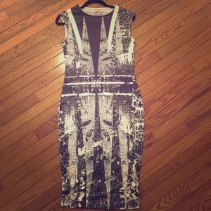 ASOS graffiti print body con sleeveless dress